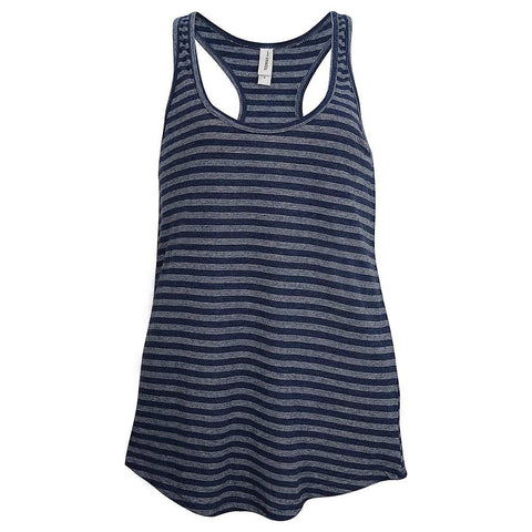 Womens Navy Blue Striped Tank Top: Teemax