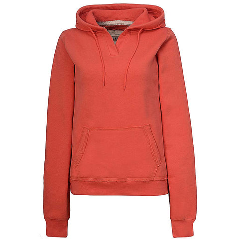 Womens Bright Orange Frayed Pullover Sweatshirt