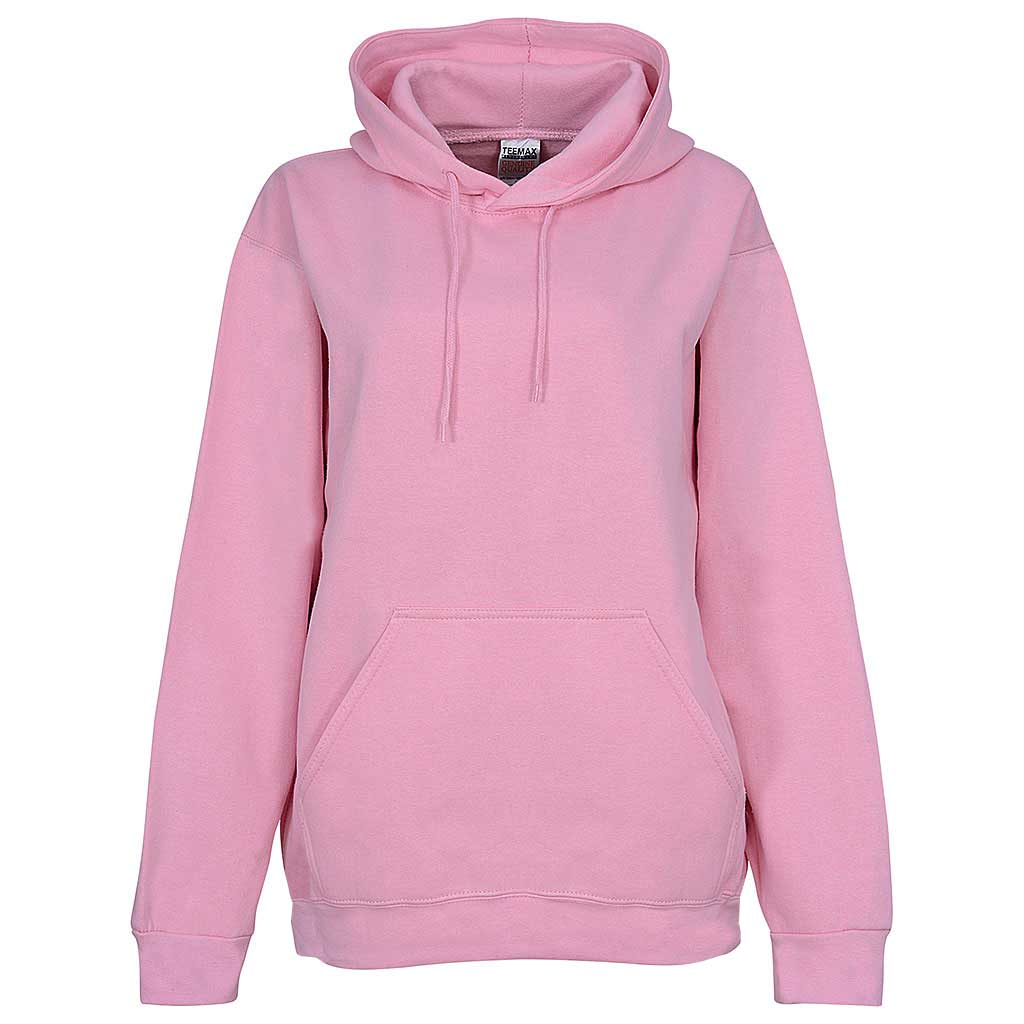 Womens Baby Pink Pullover Hoodie. Relaxed Unisex fit.