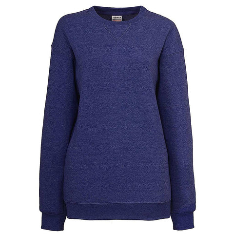 Womens Heather Royal Blue Crew Neck Sweatshirt