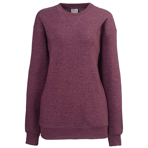 Womens Heather Plum Purple Crew Neck Sweatshirt