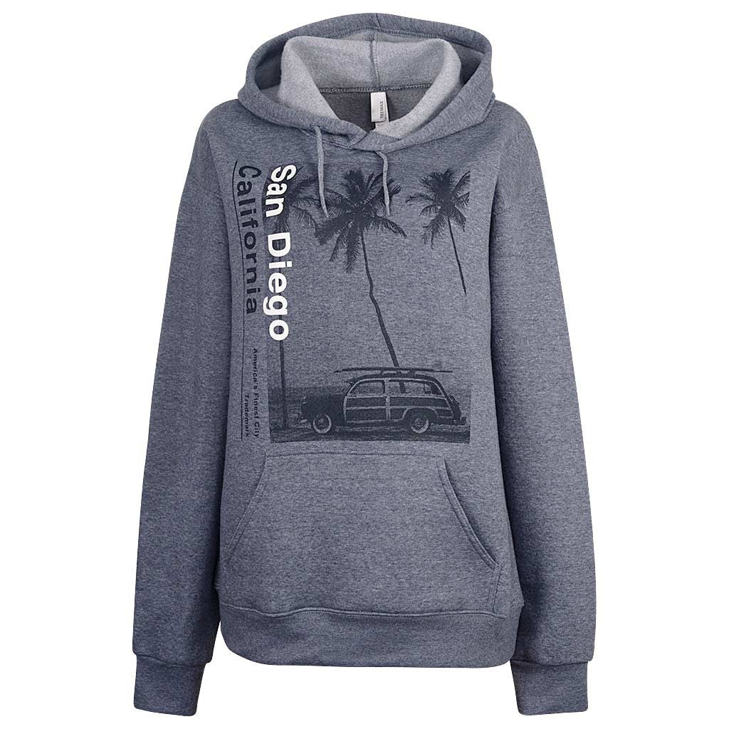 Womens Hoodie San Diego Woody Car Palm Trees