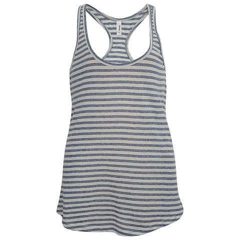 Womens White Striped Long Flowy Tank Top: Teemax
