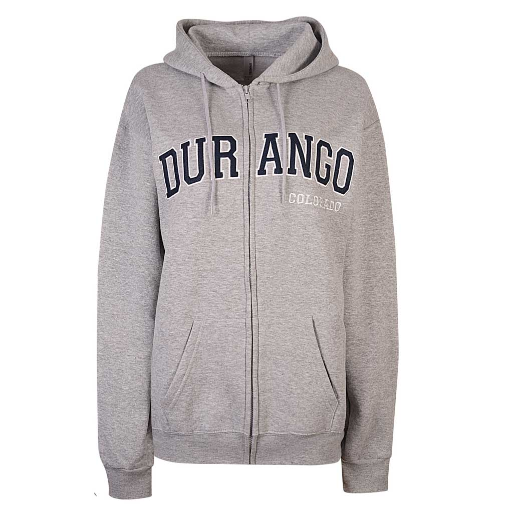 Durango Colorado Women Zip Up Hoodie. Heather Gray
