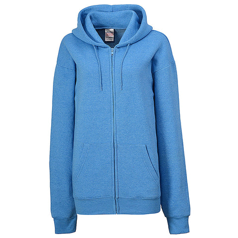 Womens Heather Sky Blue Full Zip Hoodie Sweatshirt