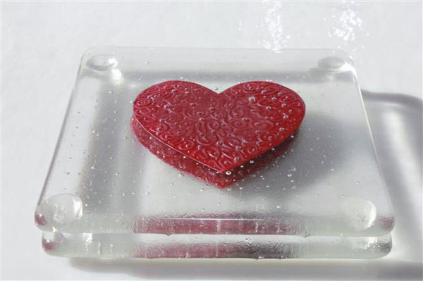 Embossed Heart Glass Coasters
