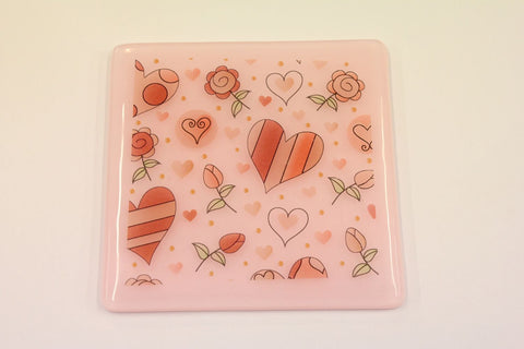 Heart Decal Coaster In Pink