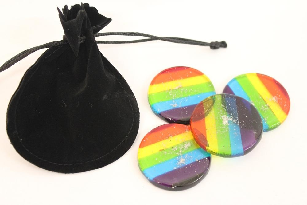 rainbow discs with ashes