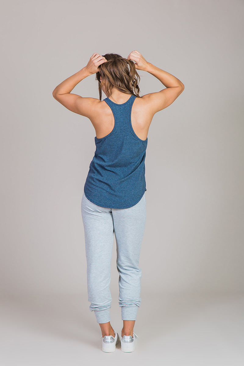 racerback blue tank top