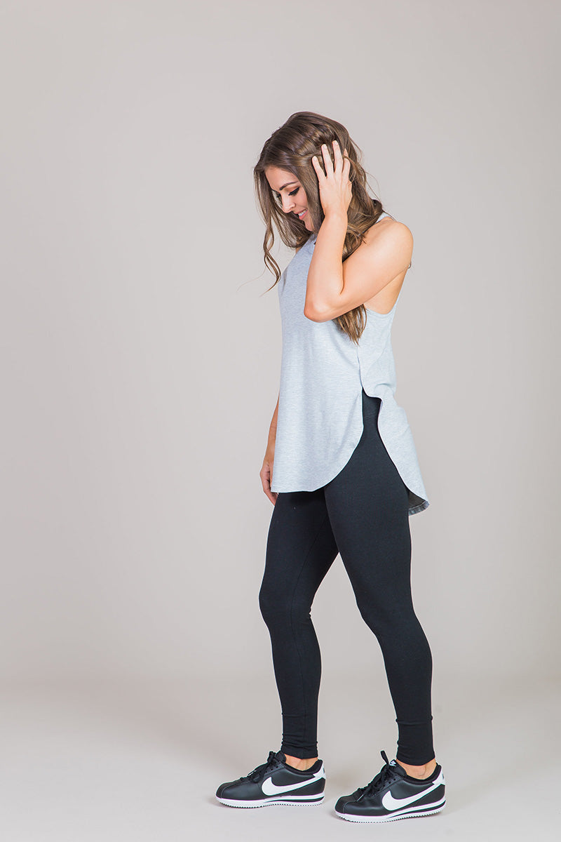 Nicole Alex gray tank with side slits