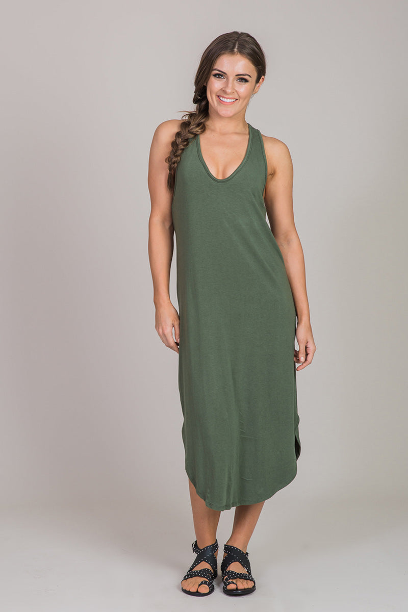 Nicole Alex green midi dress