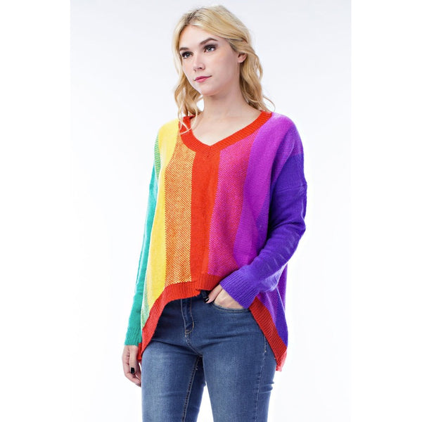 ALL IN RAINBOW KNIT SWEATER