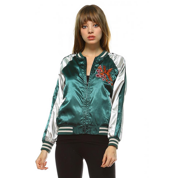 AVA EMBROIDERED SATIN BOMBER JACKET