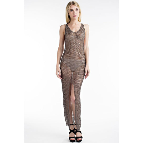 BELLA METALLIC COVER-UP DRESS - GREY