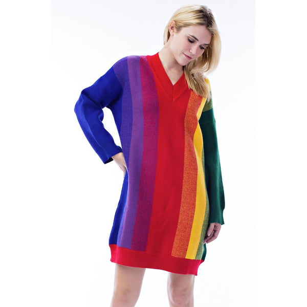 CHASING RAINBOWS KNIT SWEATER DRESS