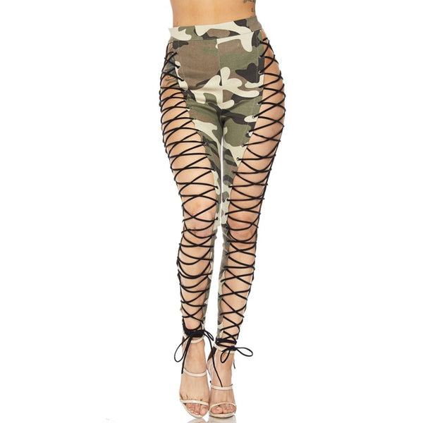 DOUBLE TROUBLE CAMO LEGGINGS - OLIVE