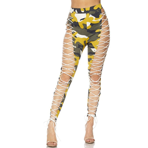 DOUBLE TROUBLE CAMO LEGGINGS - YELLOW