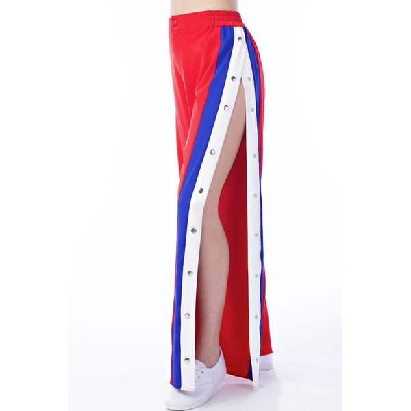 JET SETTER SNAP TRACK PANTS - RED/BLUE