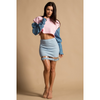 ROSE RING DENIM SLEEVE CROP TOP