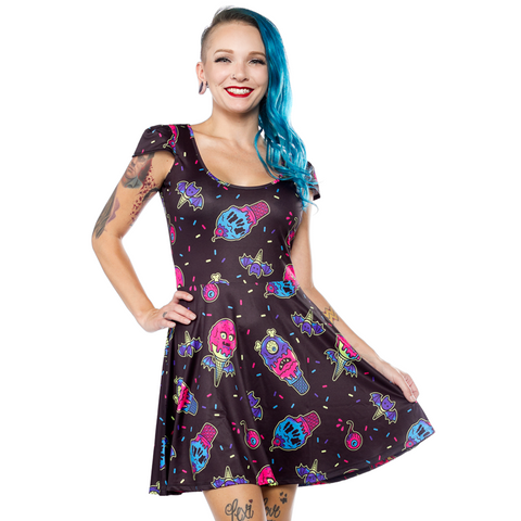 ICE CREEP CONES SKATER DRESS