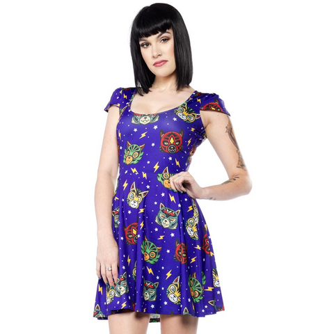 LUCHA KITTIES SKATER DRESS