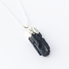 Silver Plated Natural Black Tourmaline Necklace
