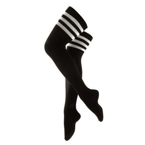 BLACK THIGH HIGH STRIPE SOCKS