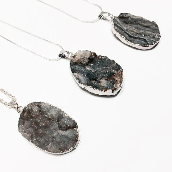 Hand Dipped Sterling and Natural Agate Druzy Necklace