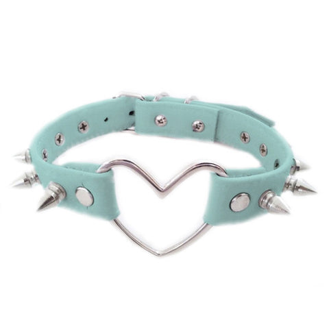 BLUE STUDDED HEART CHOKER