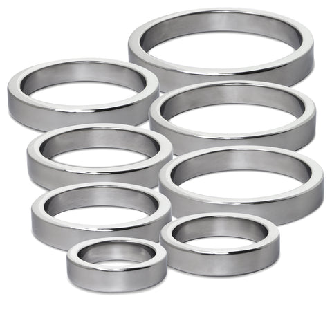 "Cock Ring / Glans Ring Stainless Steel 10mm Depth x 1.125""-2.50"" Diameters"