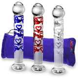 Glass 7 Inch Sweet Hearts Wand Mushroom Tip Dildo