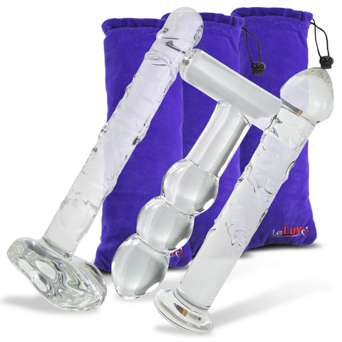 Bundle - 3 items: Ice Collection Glass Dildo & Butt Plug Gift Sets