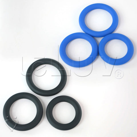 "Round Smooth Cock Ring 3-Pack 32mm (1.3""), 37mm (1.5"") and 42mm (1,7"")"