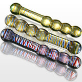 Glass 8 Inch Helix Curved Round Beads Double-ended Dildo-