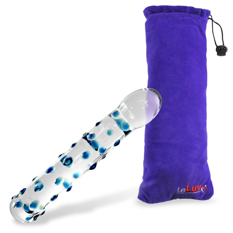 Glass Mini Dildo with Pointed Curved Tip & Blue Dots
