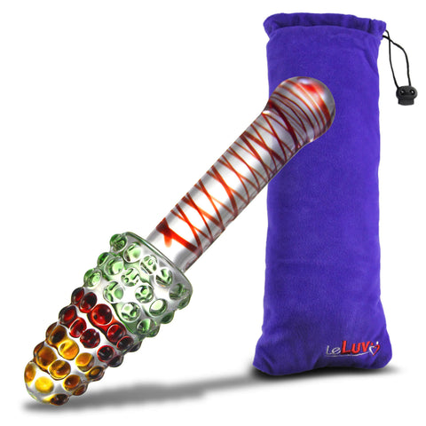 Glass Rainbow Cone Large Nubby Festive Anal Toy