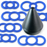 Tension Rings EYRO Slippery Silicone and 2.25 Inch EasyOp Cylinder Loader Cone