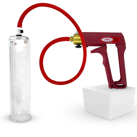 Penis Pump MAXI Red Kit with Premium Hose Upgrade 9 or 12 Inch Length by 1.35-3.50 Inch Diameter