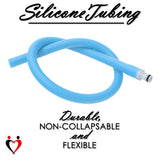 Uncoated Silicone Hose for Vacuum Pumps Light Blue with O-Ring Fitting