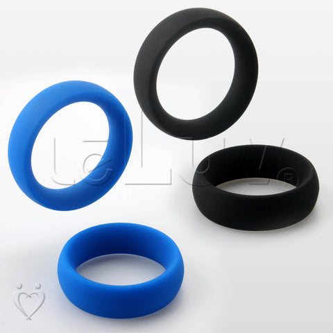 "Wide Oval Cock Ring 2-Pack 45mm (1.8"") and 47mm (1.9"") Inner Diameters"