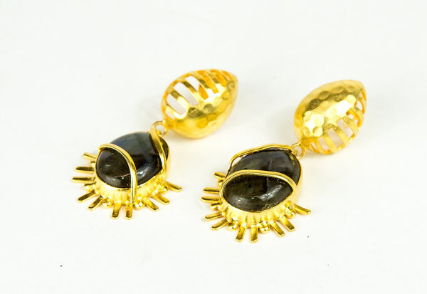 LABRODERITE IN GOLD EARRINGS