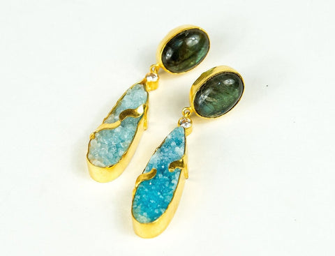 MIRRORED DROP STONE EARRINGS