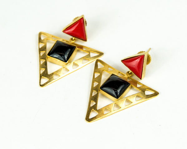 RED POTA STONE EARRINGS