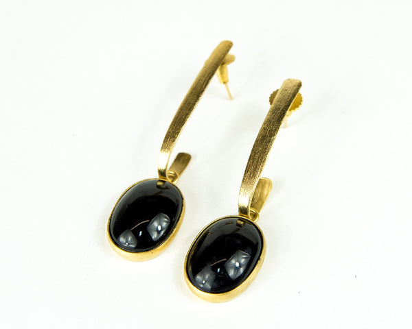 ANYA BLACK ONYX DROP EARRINGS