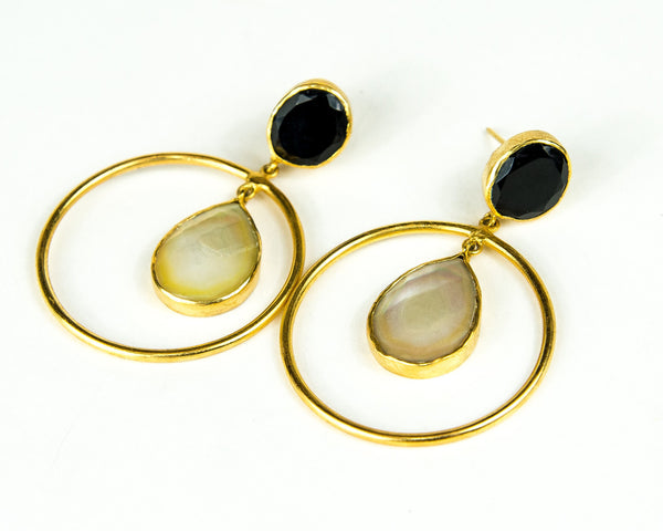 TUXEDO TWO DROP HOOP EARRINGS