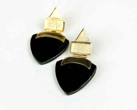 JET ONYX MOTHER OF PEARL TASSLE EARRINGS