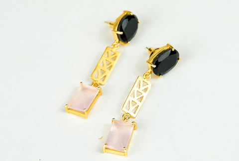 LUCKY MOTHER OF PEARL STACKED EARRINGS