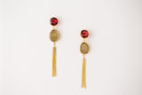 RUBY TASSLE DROP EARRINGS