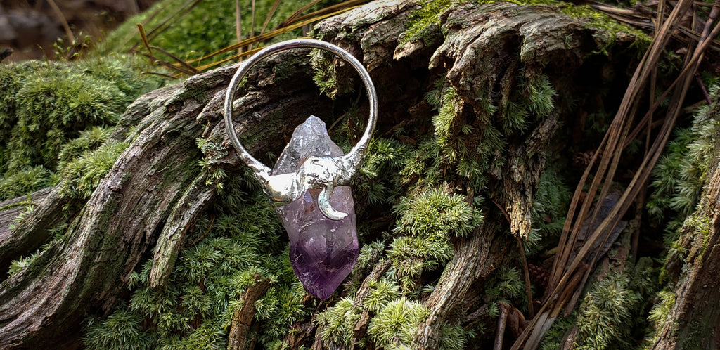 Raw Amethyst + Moon Pendant - Wild Witchery