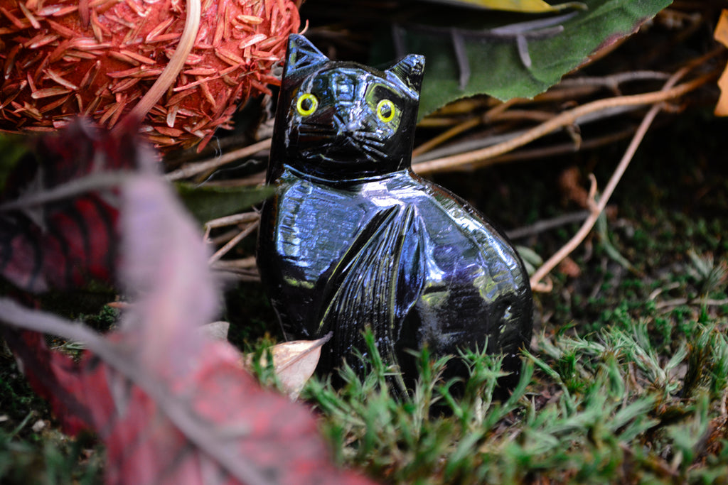 Black Onyx Cat Statues~For Intuition, Astral Travel & Protection - Wild Witchery